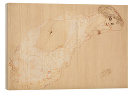 Wood print  Lying on her stomach - Gustav Klimt