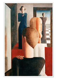 Poster  Five figures in a space (Roman) - Oskar Schlemmer