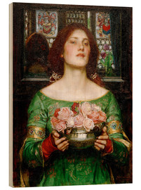 Wood print  Gather Rosebuds While May - John William Waterhouse