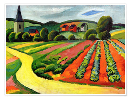 Premium poster  Landscape with Church and path - August Macke