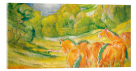 Acrylic print  Great landscape I (landscape with red horses) - Franz Marc