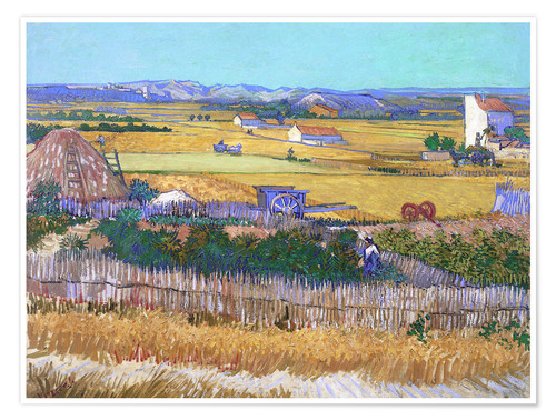 Poster Harvest Landscape with Blue Cart
