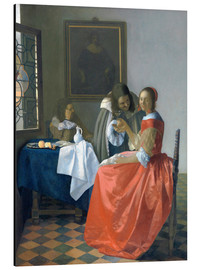 Alu-Dibond  The Girl with the Wine Glass - Jan Vermeer