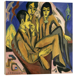 Wood print  Group of artists, a conversation among artists - Ernst Ludwig Kirchner