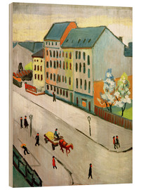 Wood print  Our Street in Grey - August Macke