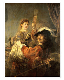 Premium poster Self-portrait with his wife Saskia as the prodigal son