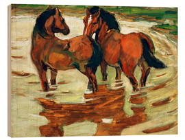 Wood print  Two horses in the flood - Franz Marc