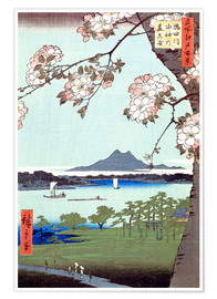Premium poster  Masaki and the Suijin Grove by the Sumida River - Utagawa Hiroshige