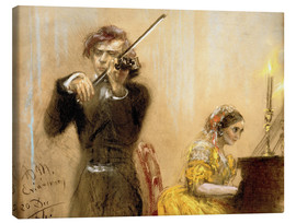 Canvas  Clara Schumann and Joseph Joachim playing music - Adolph von Menzel