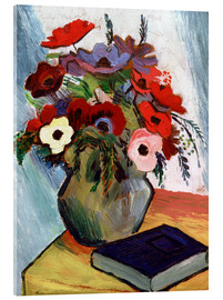 Acrylic glass  Still life with Anemones and Blue Book - August Macke