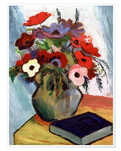 Premium poster Still life with Anemones and Blue Book
