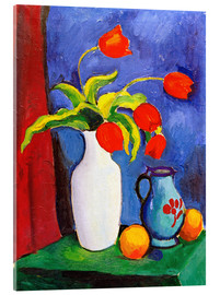 Acrylic glass  Red tulips in white vase - August Macke