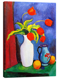 Canvas  Red tulips in white vase - August Macke
