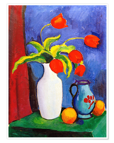 Premium poster Red tulips in white vase