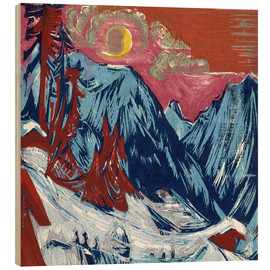 Wood print  Winter moonlit night - Ernst Ludwig Kirchner