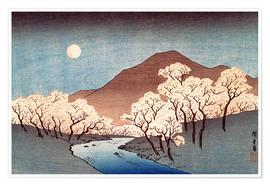Premium poster  River landscape with rising moon - Utagawa Hiroshige
