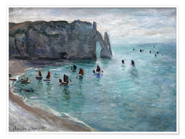 Premium poster Étretat, Porte d'Aval: Fishing Boats Leaving the Harbor