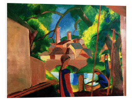 Foam board print  Childrens by the Fountain, with Town in the Background - August Macke