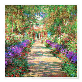 Poster  A Pathway in Monet's Garden - Claude Monet