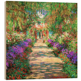 Wood print  A Pathway in Monet's Garden - Claude Monet