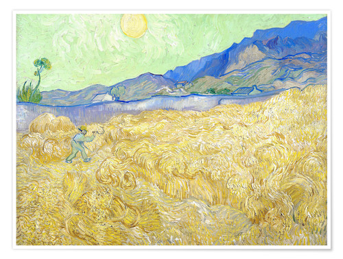 Premium poster Wheat Field with Reaper at sunrise