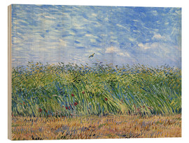 Wood print  Corn field with poppies and partridge - Vincent van Gogh