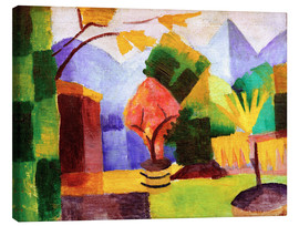 Canvas print  Garden beside the lake Thun - August Macke