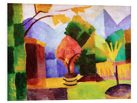 Foam board print  Garden beside the lake Thun - August Macke