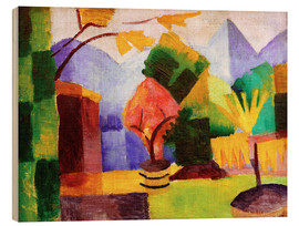 Wood print  Garden beside the lake Thun - August Macke