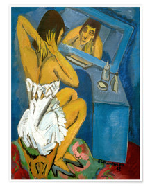 Premium poster Toilet; Woman in front of the mirror