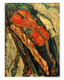 Premium poster Nature morte au violon, pain et poisson