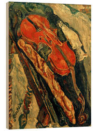 Wood print  Nature morte au violon, pain et poisson - Chaim Soutine
