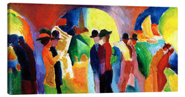 Canvas print  Colonnade with sailboat - August Macke
