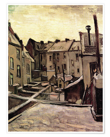 Poster  Backyards of Old Houses in Antwerp in the Snow - Vincent van Gogh