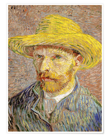 Premium poster Vincent van Gogh with straw hat