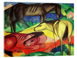 Acrylic glass  Three Horses II - Franz Marc