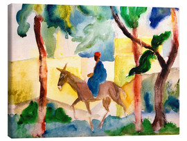 Canvas  Man Riding on a Donkey - August Macke