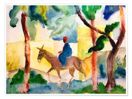August Macke - Man Riding on a Donkey