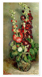 Premium poster Vase with Hollyhocks