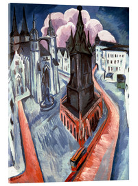 Acrylic glass  The Red Tower in Halle - Ernst Ludwig Kirchner