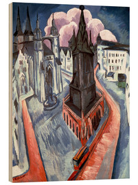 Wood print  The Red Tower in Halle - Ernst Ludwig Kirchner