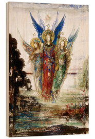 Wood print  Job and the Angels - Gustave Moreau