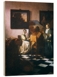 Wood print  The concert - Jan Vermeer