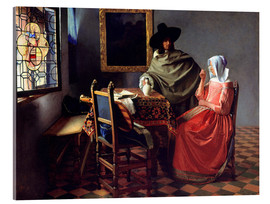Acrylic print  Lord and lady at the wine - Jan Vermeer