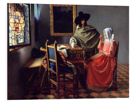 Foam board print  Lord and lady at the wine - Jan Vermeer