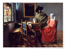 Poster  Lord and lady at the wine - Jan Vermeer