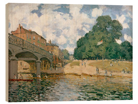 Wood print  Bridge near Hampton Court - Alfred Sisley
