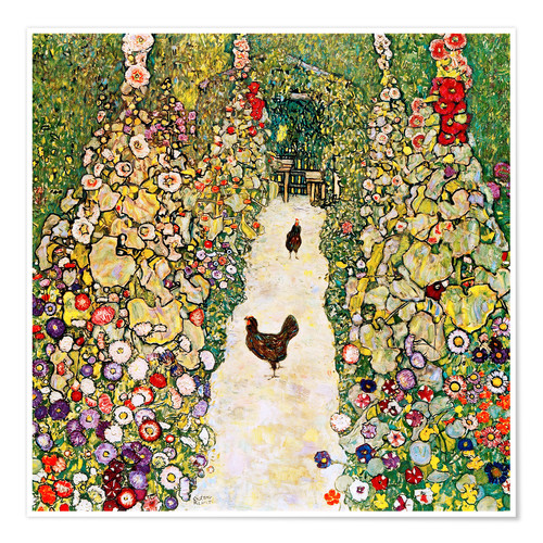 Premium poster Garden Path with Chickens