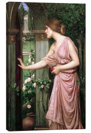 Canvas print  Psyche opens Cupid's Garden Gate - John William Waterhouse