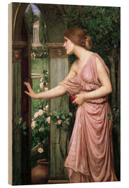 Wood print  Psyche opens Cupid's Garden Gate - John William Waterhouse